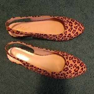 Leopard Print Sling Backs Sofwear Size 8.5